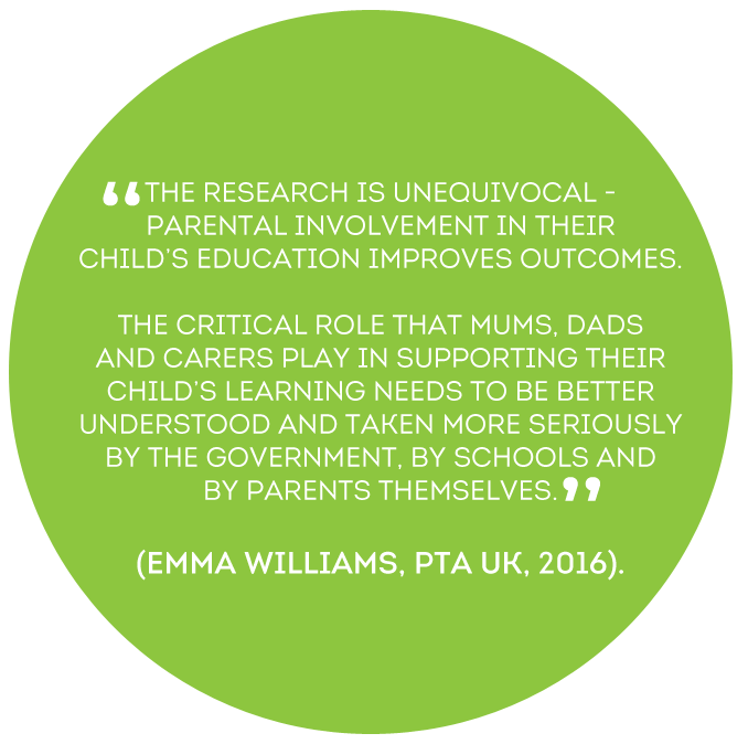 The Research is unequivocal – parental involvement in their child's education improves outcomes - Emma Williams, PTA UK, 2016