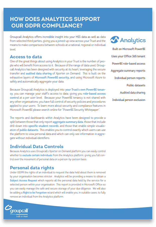 Groupcall Analytics product compliance Download